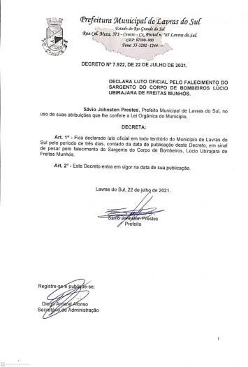 Prefeito Sávio Prestes, declara luto oficial pela perda de lavrense em incêndio na capital